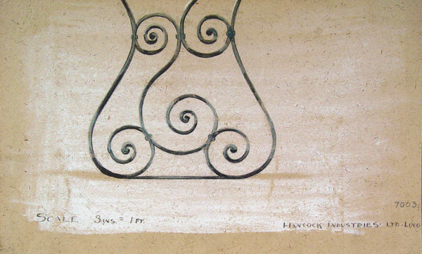 Artist Rendering of Wrought Iron Panel - Artifax antiques & design