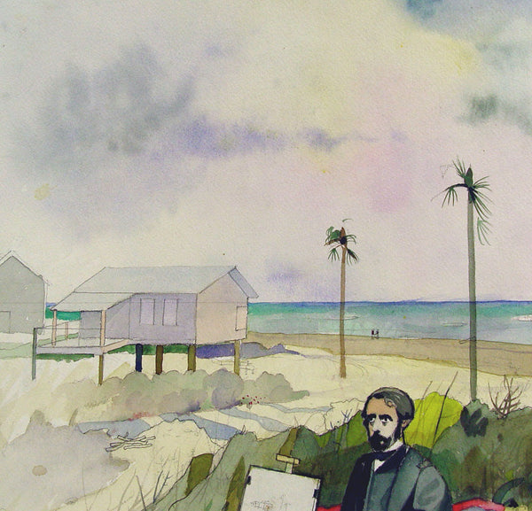 Vintage Texas Artist at the Beach Watercolor