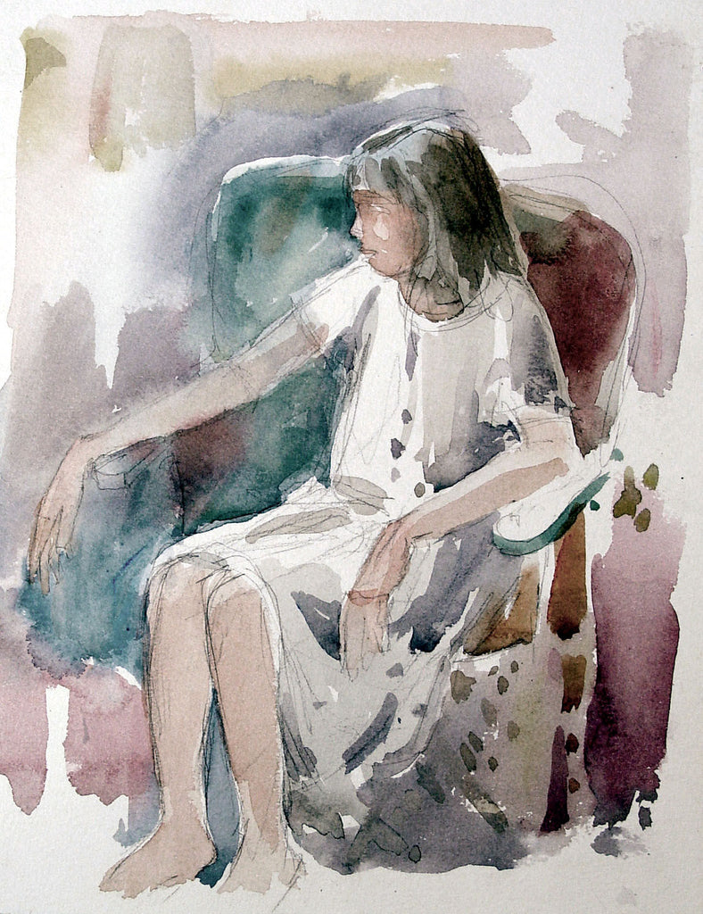 Watercolor Portrait  Seated Woman