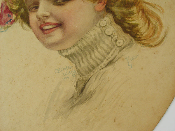 1909 Antique Watercolor Portrait - Artifax antiques & design