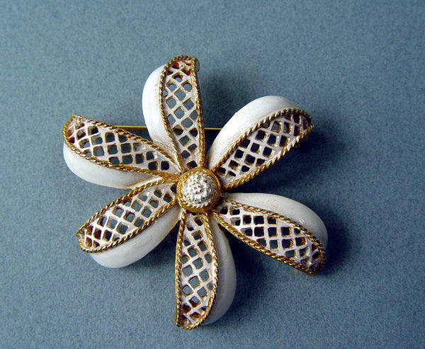 Vintage White Enamel On Gold Tone Brooch