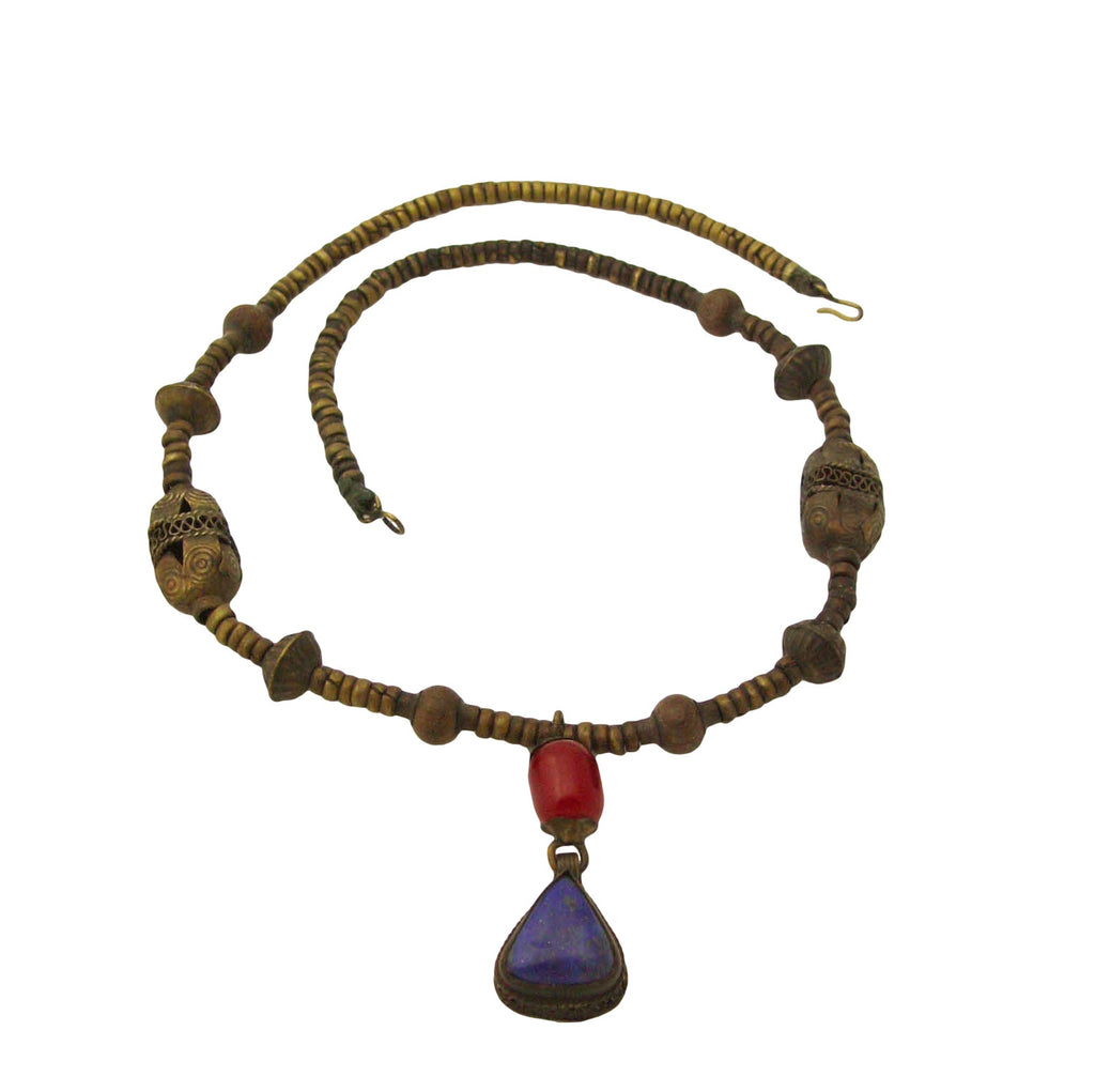 Vintage Tribal Lapis & Carnelian Necklace