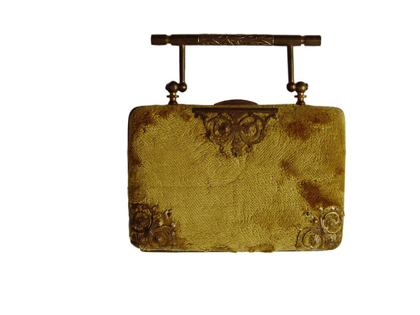 Antique Velvet & Brass Filigree Pocketbook Purse