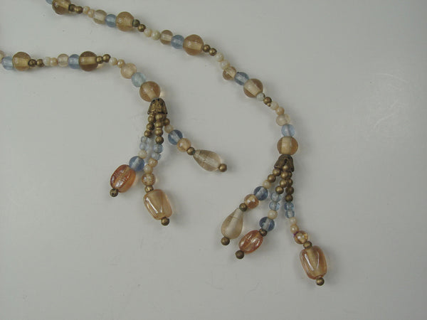 Vintage Blue & Taupe Glass Bead Rope Necklace