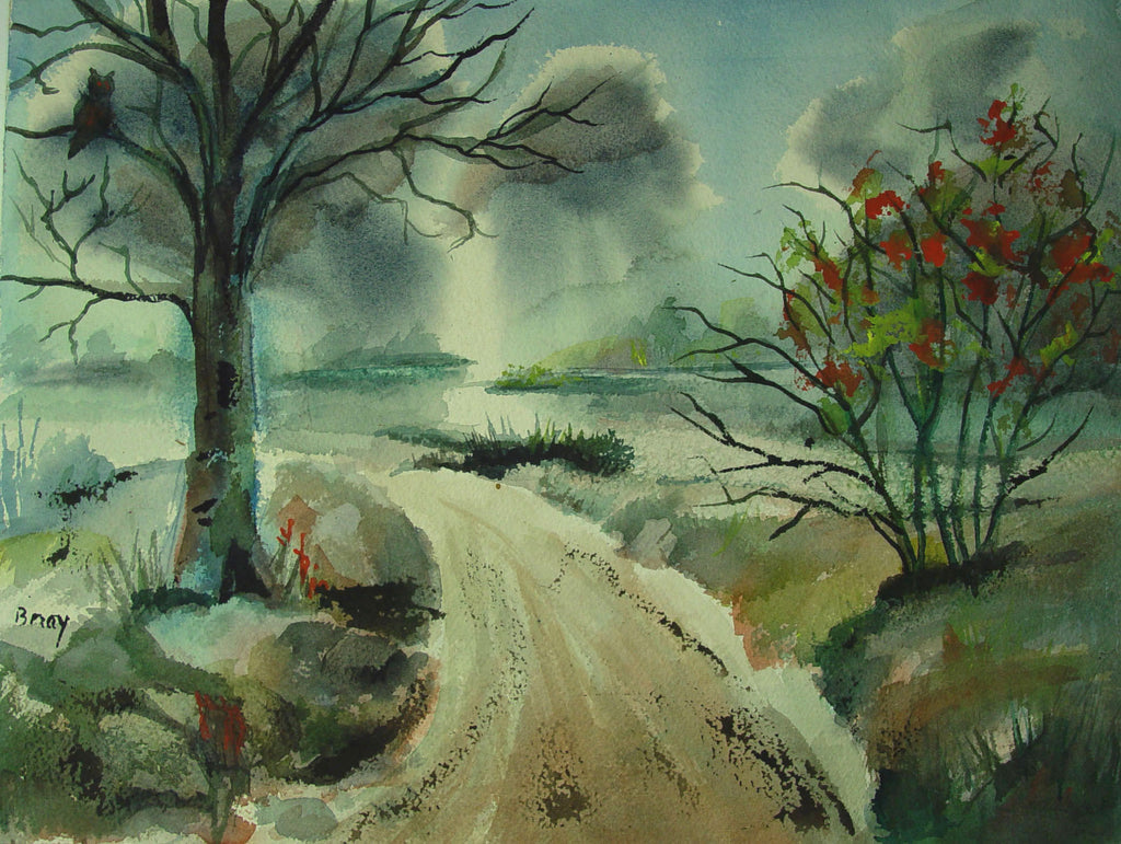 Autumn Storm Watercolor - Artifax antiques & design