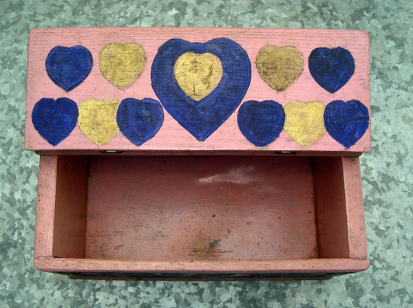 1936 Folk Art Hand Carved and Painted Box - Artifax antiques & design