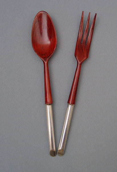 French Sterling & Wood Salad Set