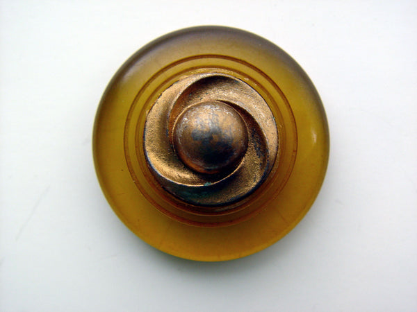 Apple Juice Bakelite & Gilt Coat Button - Artifax antiques & design