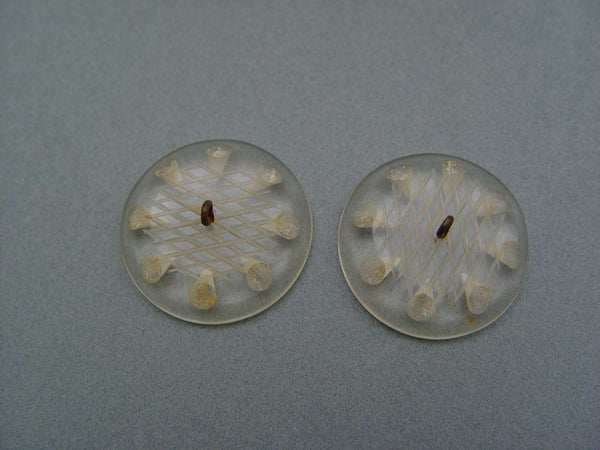 Pr. Lucite Reverse Carved Coat or Jacket Buttons