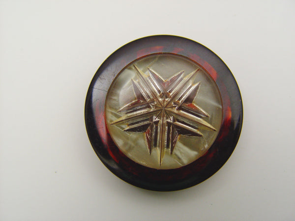 Tortoise Shell Bakelite Lucite Reverse Carved Coat Button