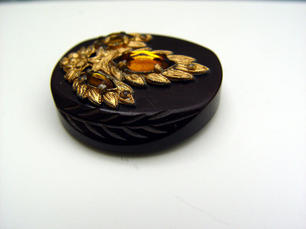 Glamorous Carved Bakelite w/Rhinestones Coat Button