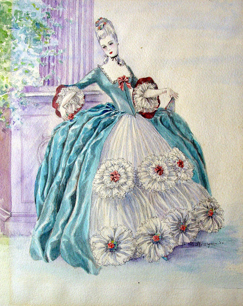 1940's Period Costume Watercolor - Artifax antiques & design