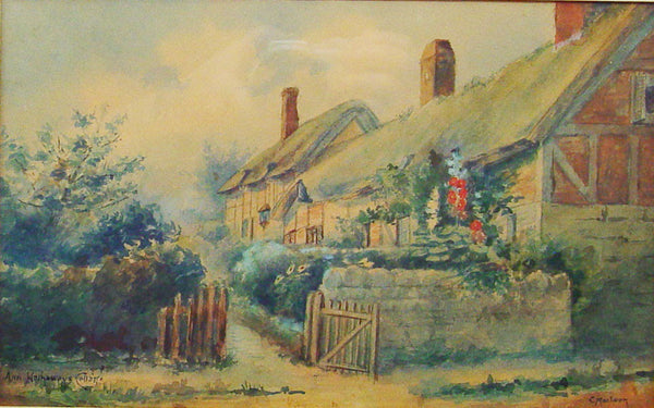 Ann Hathaway's Cottage, Stratford Watercolor - Artifax antiques & design