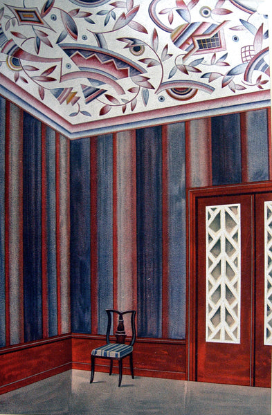Deco Interior Pochoir Navy/Silver, 1929