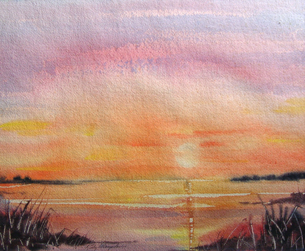 Pink Sunset Watercolor