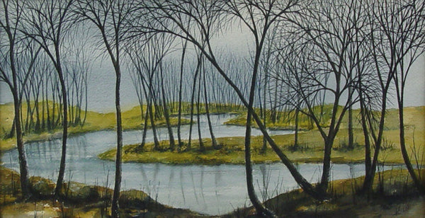 Winter Wetlands Watercolor Landscape
