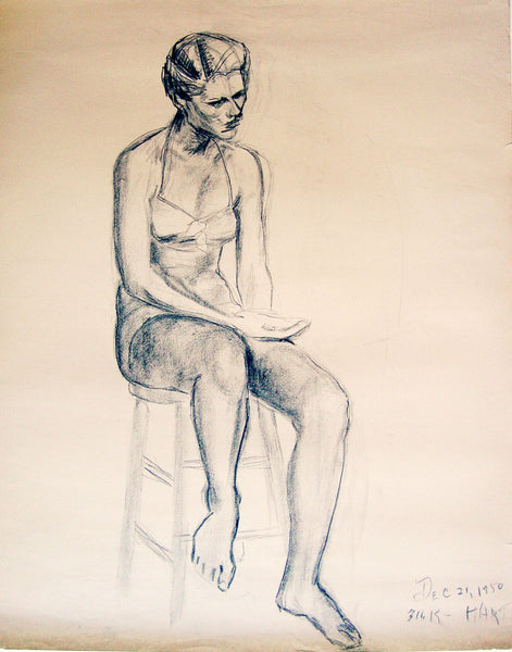 1950s Figural Charcoal Study By Geneva Flores Hart Fell - Artifax antiques & design