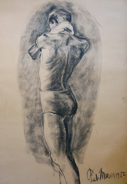 1950s Figural Study in Charcoal Early Texas Artist - Artifax antiques & design