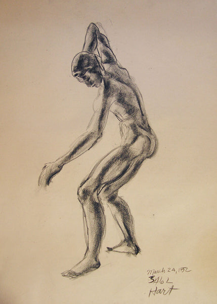 1950s Charcoal Figural Study Vintage Texas Artist - Artifax antiques & design