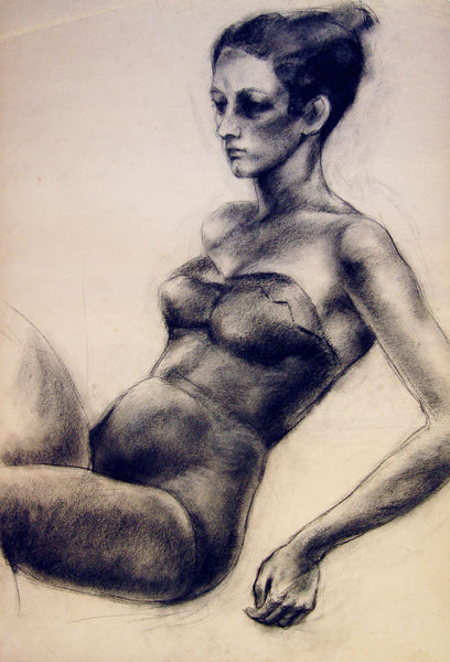 1950s Charcoal Female Figure Study Early Texas Artist - Artifax antiques & design