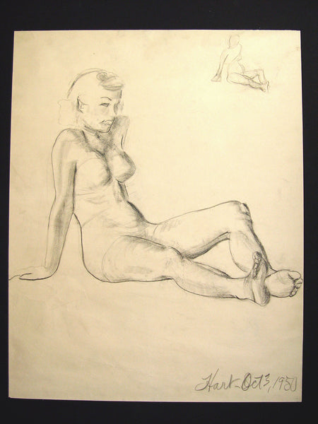 Figural Study in Charcoal, 1950 by Geneva Flores Hart