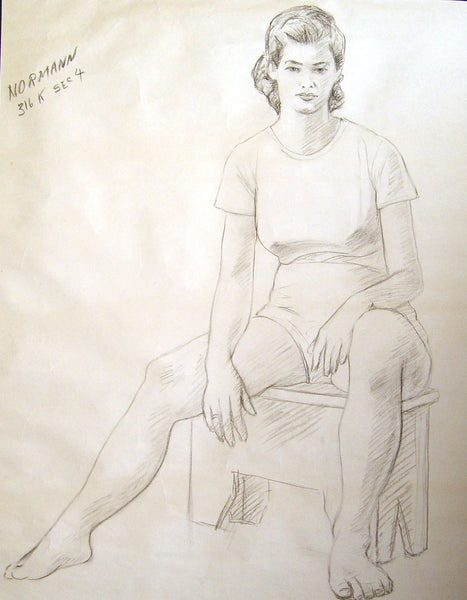 1950s Seated Charcoal Figural Study by Charles Berkeley Normann - Artifax antiques & design
