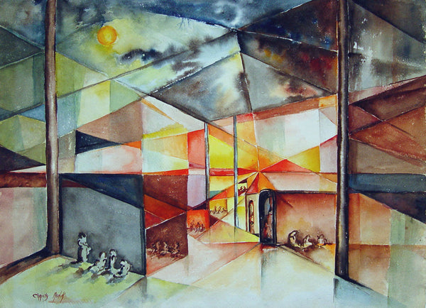 Abstract Gathering Watercolor - Artifax antiques & design