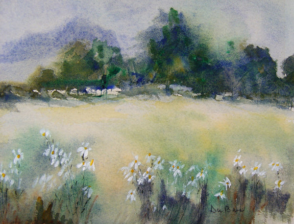 Misty Moutains & Daisies Watercolor
