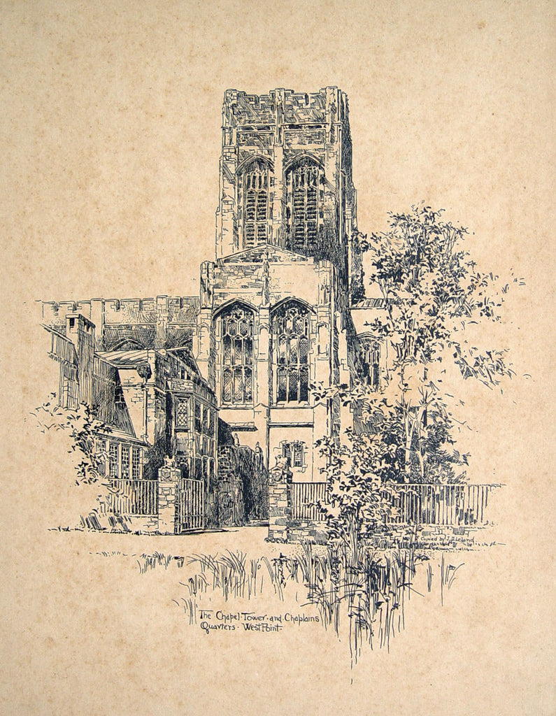 Chapel Tower at West Point, 1908 - Artifax antiques & design