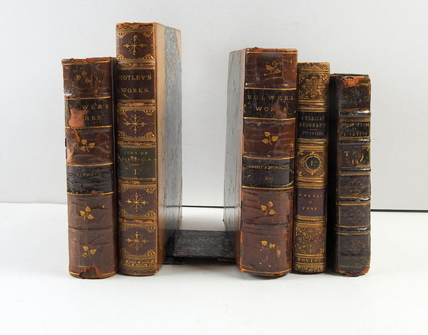 Antique Leather Book Bookends S/5