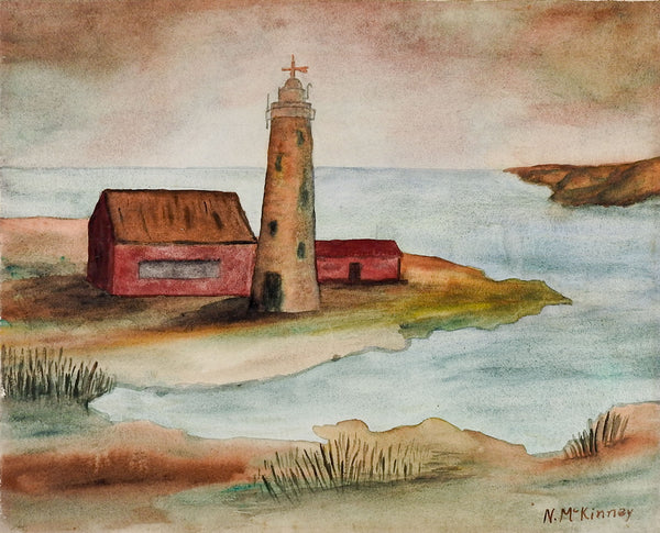 Folk Art Lighthouse Watercolor Painting