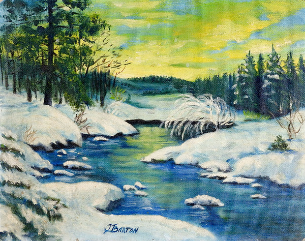 Snowy Forest Winter Landscape Painting