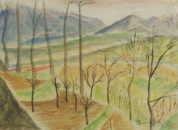 Modernist Landscape Watercolor Painting