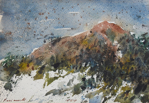 1959 Mountain View Watercolor Painting