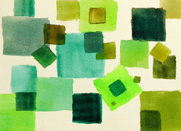 Geometric Abstract in Green Painting