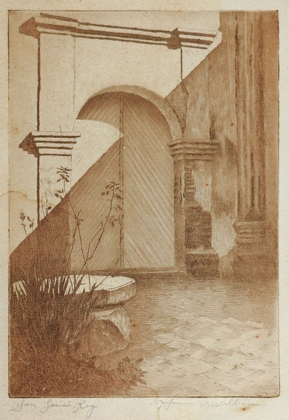 San Luis Rey Mission Etching By Homer R Williams