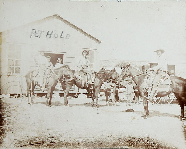 C.1900 Cowboys at Pot Hole City Texas Photograph