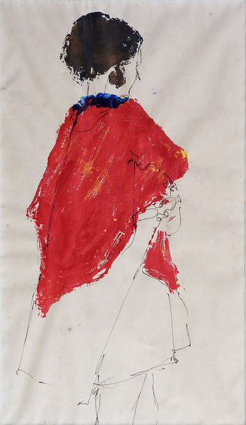 Woman In Red Cape Mixed Media Drawing
