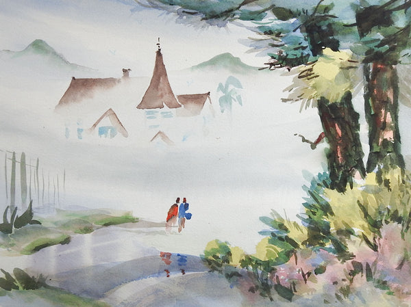 House In Fog Watercolor Painting