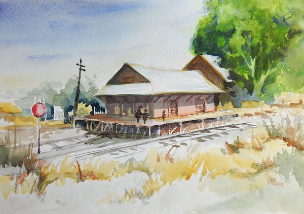 Old Railroad Depot Watercolor Painting