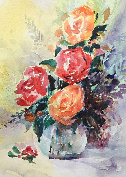 Red & Orange Roses Floral Still Life Watercolor Painting