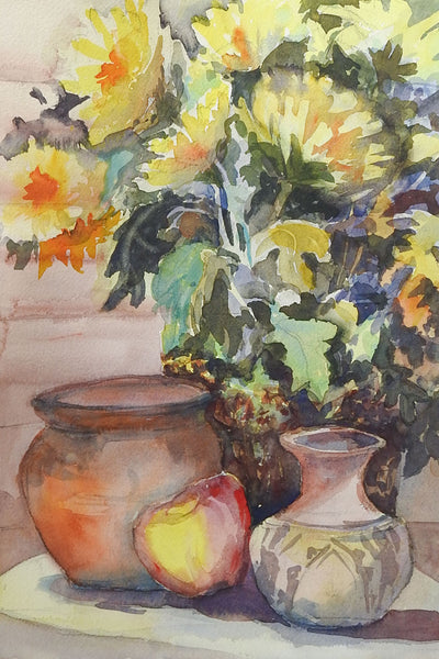 Yellow Daisies Floral Still Life Watercolor Painting