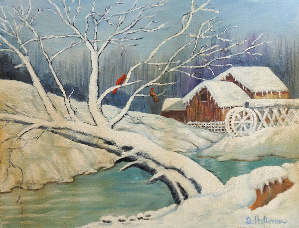 Winter Waterwheel Painting