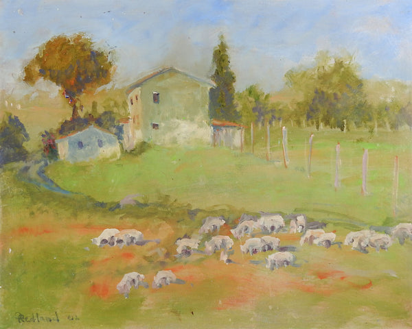 Dorothy Redland Pastoral Painting With Sheep