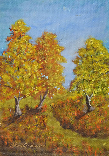 Small Impressionist Autumn Landscape Painting