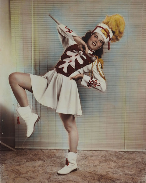 Vintage 1950's Hand Tinted Photograph of Majorette