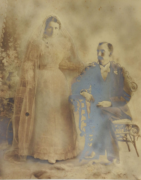 Large Antique Victorian Wedding Portrait Photograph