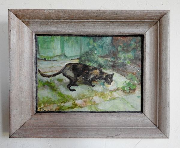 Cat In The Garden Impressionist Painting