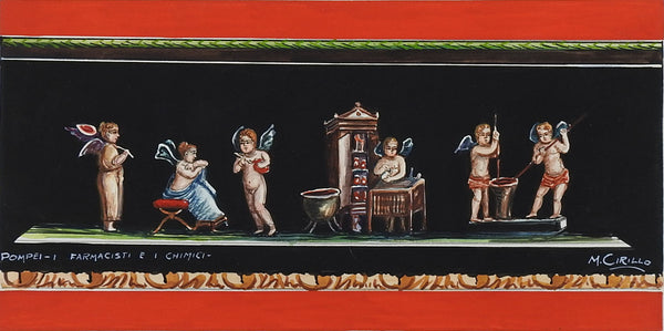 Fresco Of  Pompeii Gouache Painting