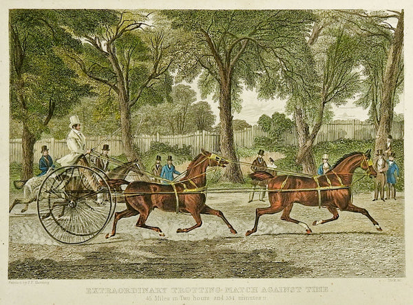 1840 Engraving Of Trotting Race